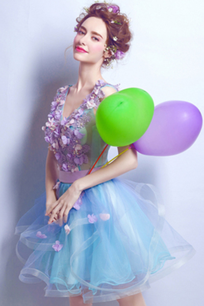 2018 blue and lavender tulle short flower homecoming dress, mini party dress