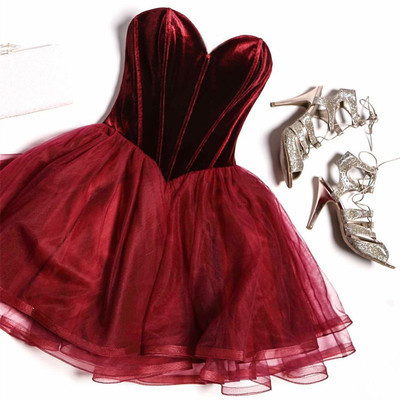 Burgundy velvet strapless short homecoming dress, mini tulle prom dress 2018