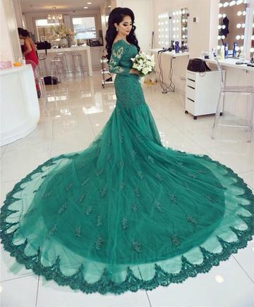 e2b98670bfdb Elegant Long Sleeves V-neck Green Lace by prom dresses on Zibbet