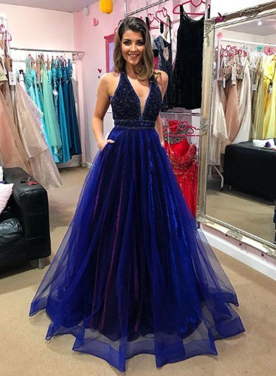 Blue v neck beaded long prom dress, blue evening dress