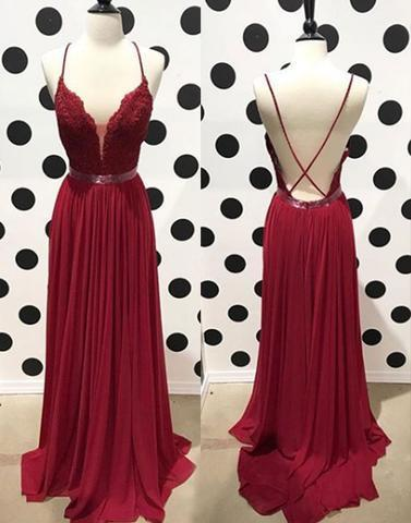 Burgundy lace backless long prom dress, lace evening dress