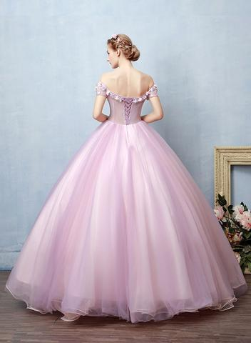 Pink tulle off shoulder long prom dress, ball gown