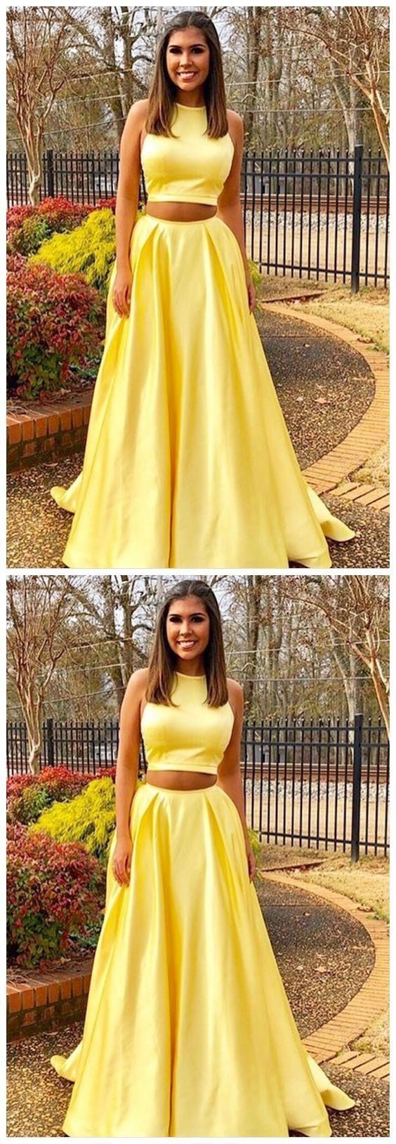 Prom Dresses ,Evening Dress, Two Piece Prom Dresses,Yellow dresses