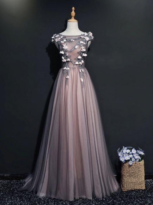 SIMPLE A-LINE SCOOP FLOOR LENGTH GRAY PINK APPLIQUE TULLE PROM DRESS EVENING
