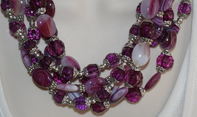 Agate and Tibetan Silver Beaded Statement Necklace, Chunky Purple Necklace,