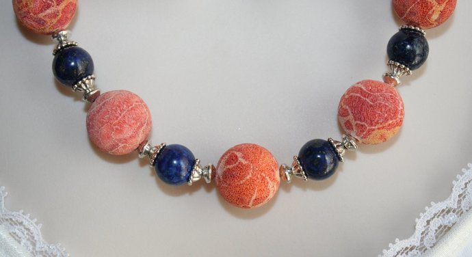 Rough Sponge Coral Statement Necklace, Chunky Lapis Lazuli and Tibetan Silver