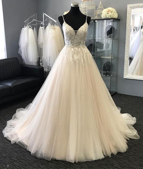 Romantic Wedding Dress,Tulle Wedding Dress,Beading Wedding Dress,Spaghetti
