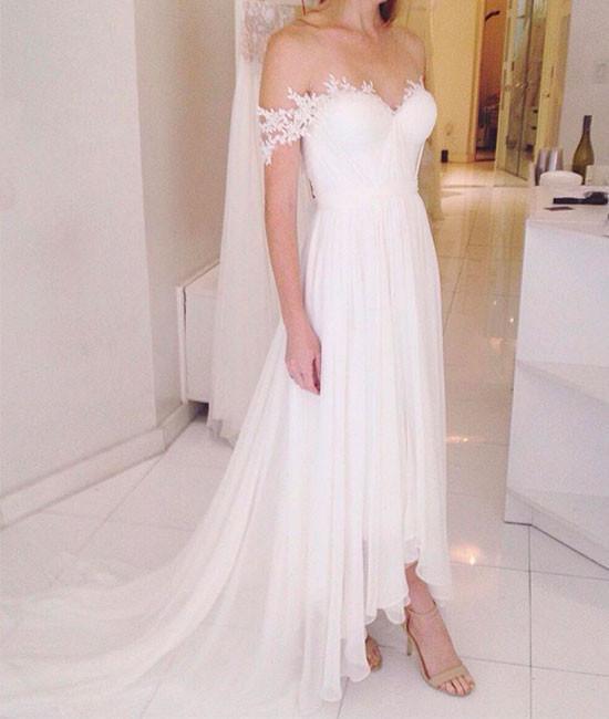 Romantic Wedding Dress,Chiffon Wedding Dress,Off the Shoulder Wedding