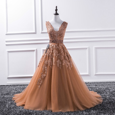 Sexy V Neck 2018 New Lace Long Prom Dresses Tulle Beaded Appliques Princess Ball