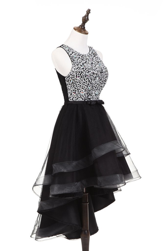 Cute silver sequins high low black tulle homecoming dresses 2018