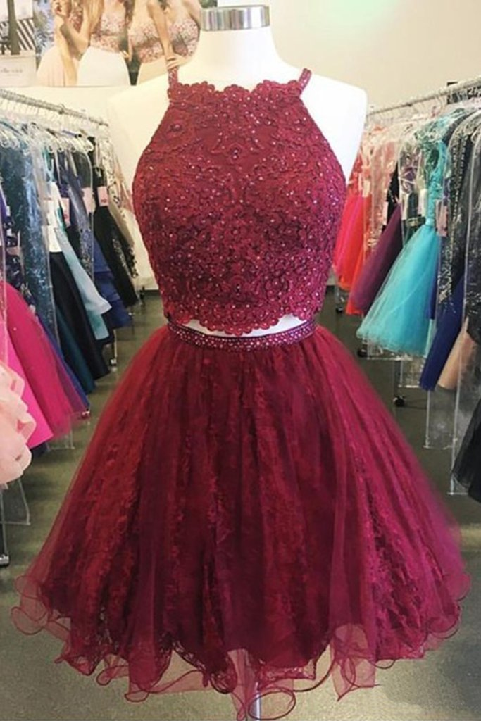 Spring burgundy tulle short two pieces homecoming dresses, short party dress