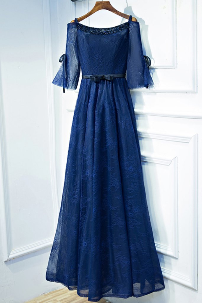a9b91f7fca1 Navy blue lace off shoulder long bowknot customize evening dress with mid