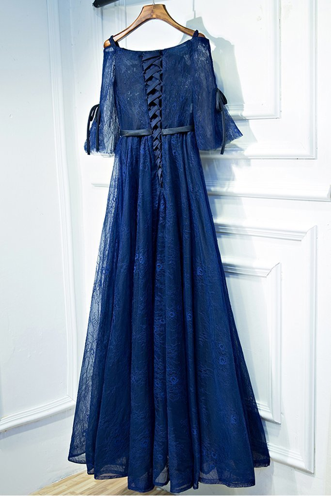 Navy blue lace off shoulder long bowknot customize evening dress with mid
