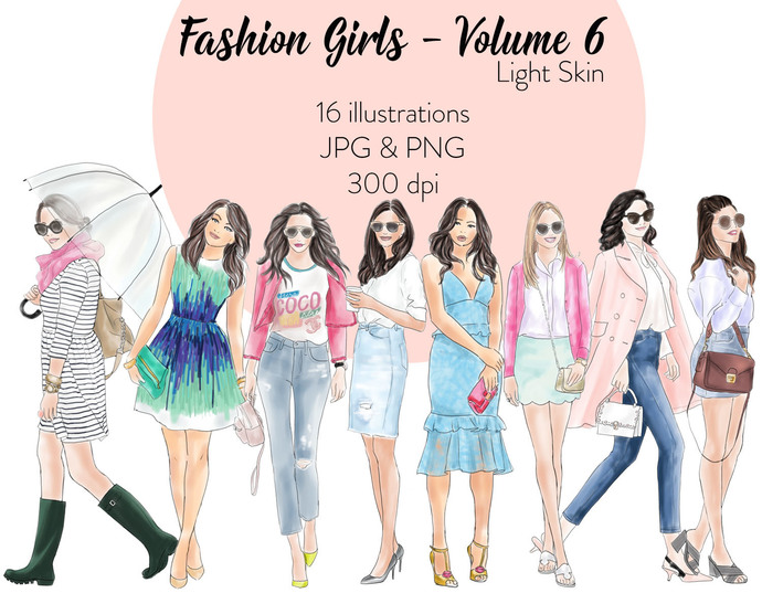 Watercolour fashion illustration clipart - Fashion Girls - Volume 6 - Light Skin