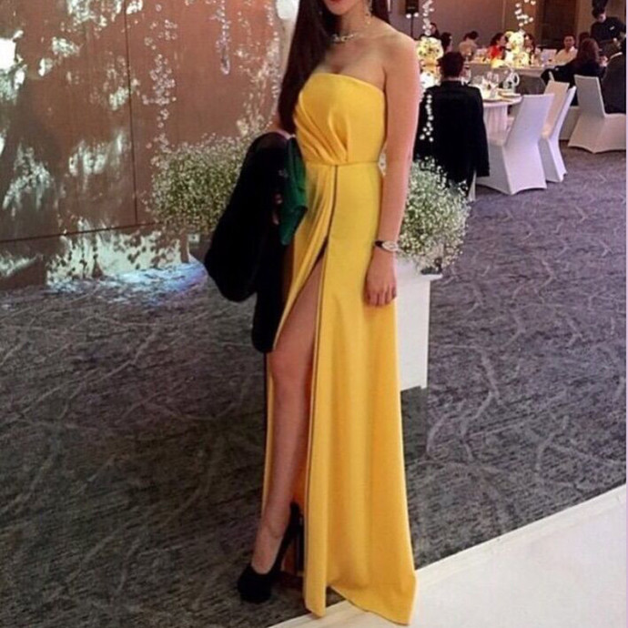 High Slit Yellow Prom Dress,Strapless by prom dresses on Zibbet