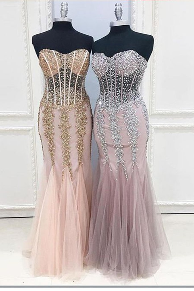 Unique sweetheart neck see-through long mermaid beaded customize evening dress