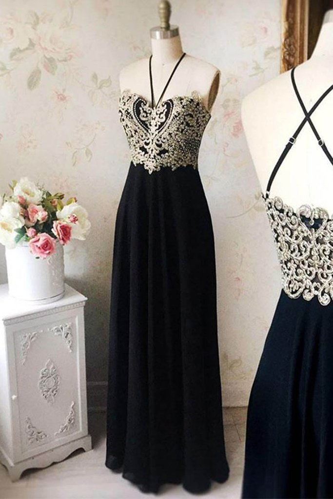 New design strapless black chiffon long evening dress with gold lace appliques