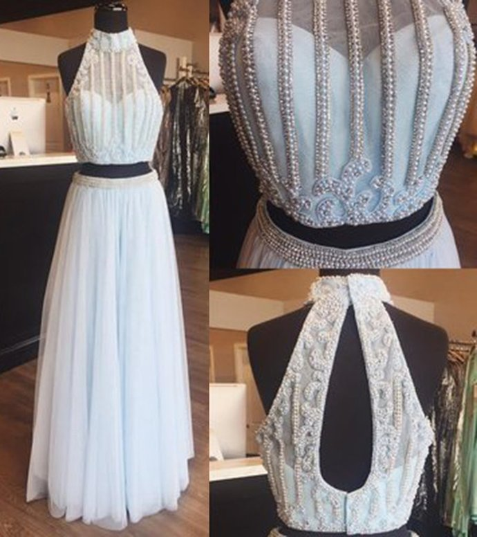 2018 blue, blush pink two pieces silver beading floor length prom dress, unique