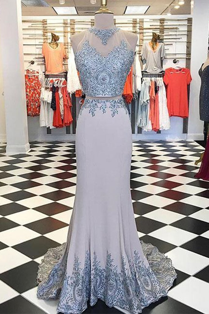Light gray polyester strapless mermaid two pieces long evening dress with lace