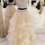 Champagne organza strapless two pieces long prom dress, long lace ruffles
