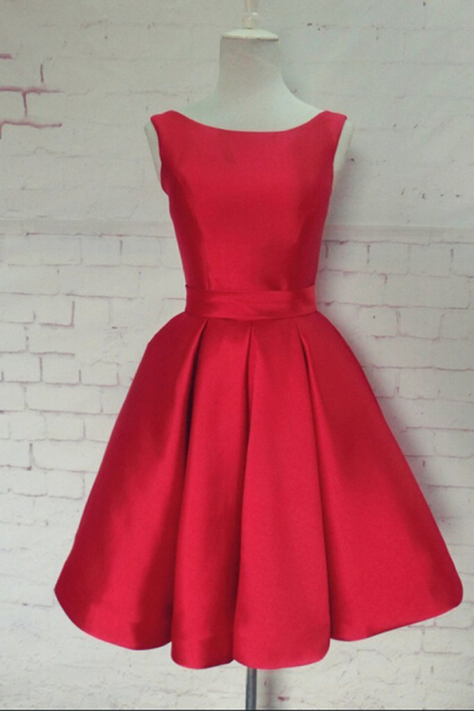 Red satin scoop neck short open back prom dress, short bridesmaid dress 2018
