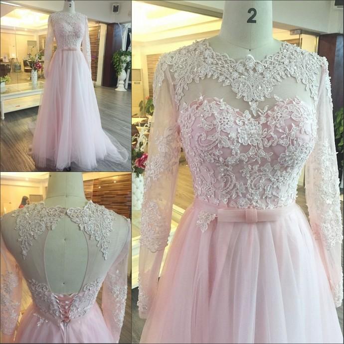 Charming Prom Dress,Elegant Prom Dress,Pink Appliques Long Sleeve Prom