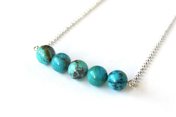 Turquoise Sterling Necklace Genuine Kingman Five 10mm Round Bead Bar Necklace