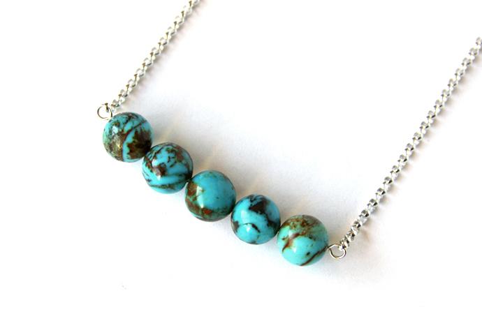 Turquoise Sterling Necklace Genuine Kingman Arizona Turquoise Medium Round