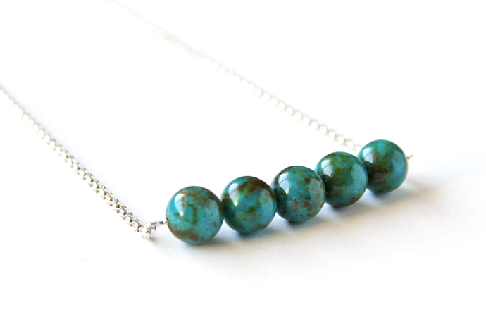 Turquoise Sterling Necklace Dark Teal Blue Natural Stone Genuine Kingman Arizona