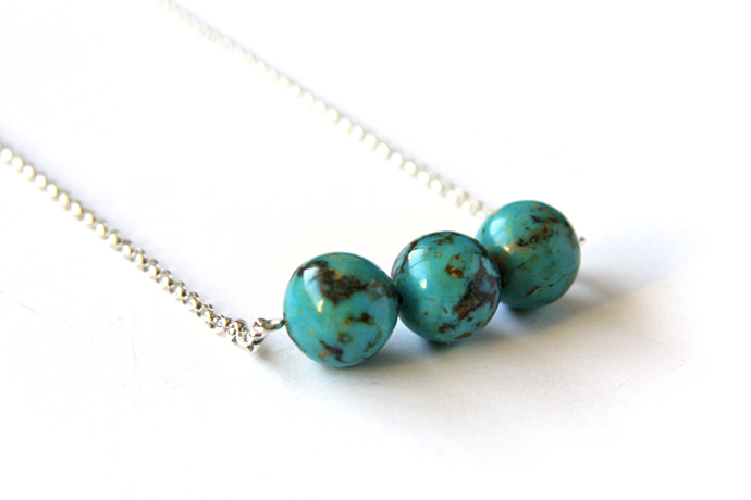 Turquoise Sterling Necklace Genuine Kingman Three 12mm Round Beads Bar Necklace