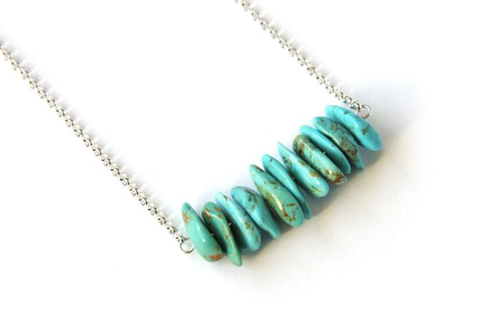 Light Turquoise Sterling Necklace Kingman Arizona Turquoise Chip Necklace