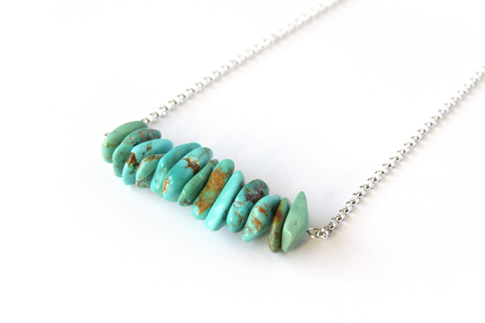 Light Turquoise Sterling Necklace Kingman Arizona Turquoise Chip Necklace Silver