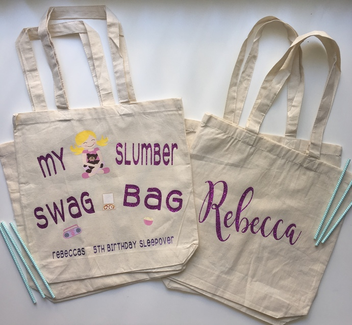 Slumber Swag Bag Spa Party Bag Custom Tote Bag One Of A Kind Personalized Party Favors Personalized Kids Totes Childrens Book Bags