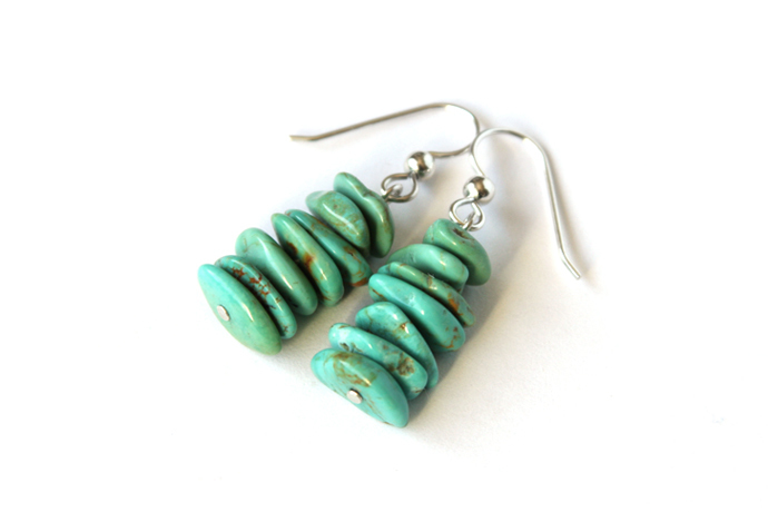 Light Turquoise Sterling Earrings Kingman Turquoise Chips Argentium Silver