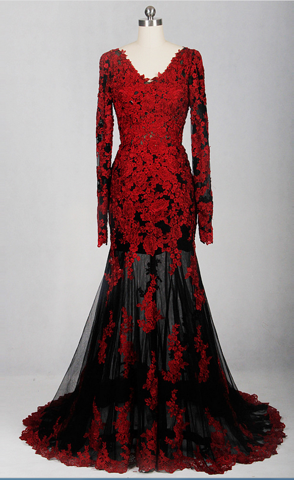 Charming Appliques Black And Red Lace Mermaid By Prom Dresses On