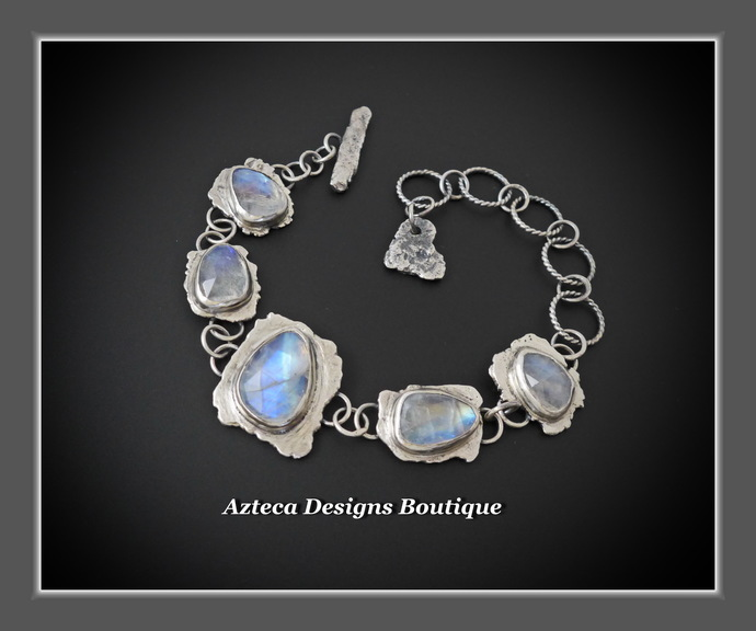Rainbow Moonstone Gemstone Hand Fabricated Rustic Sterling Silver Artisan