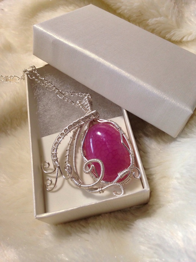 Wire Wrapped Dragon Vein Agate Necklace