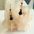 Onyx and Hammered Copper Dangle Earrings, Gift for Her