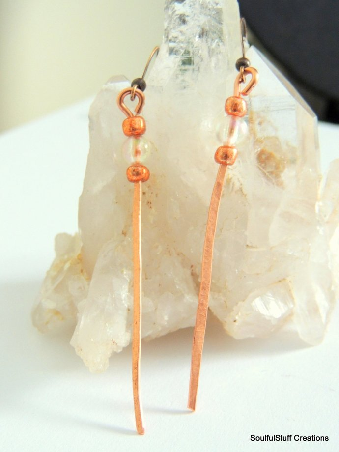 Bubble Crystal Hammered Copper Earrings, AB Polished Crystal Boho Jewelry