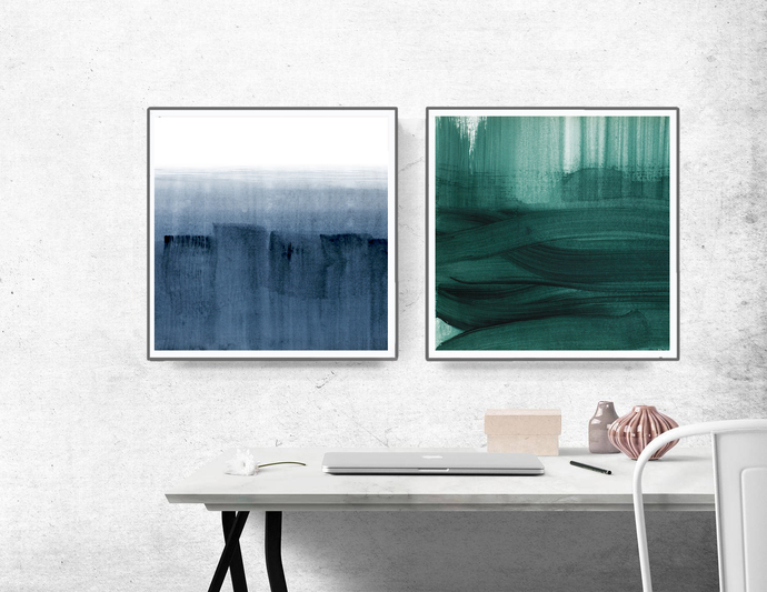 Set of 2 Prints, navy blue and teal, Green Abstract Print , Abstract Painting