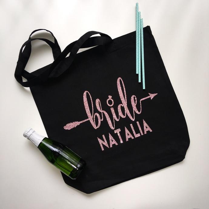 Bride, Bride tote bag, boho bride, arrow bride, name tote, custom tote bags,