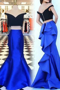 Off The Shoulder Two  Pieces Prom Dresses,Long Prom Dresses,Cheap Prom Dresses,