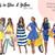 Watercolour fashion illustration clipart - Girls in Blue & Yellow - Dark Skin