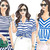 Watercolour fashion illustration clipart - Girls in Blue & White Stripes