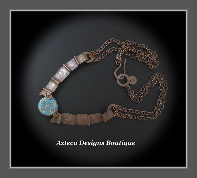 Southwest Queen~ Lampwork Copper Fold Formed Metalwork Necklace