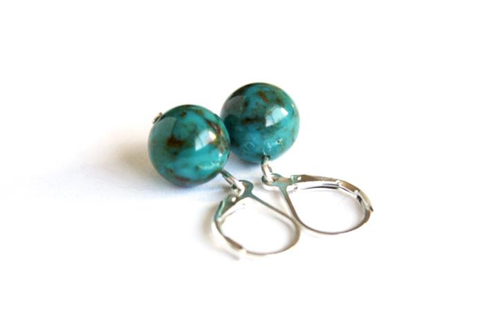 Turquoise Sterling Earrings Genuine Kingman Turquoise Beads Sterling Silver