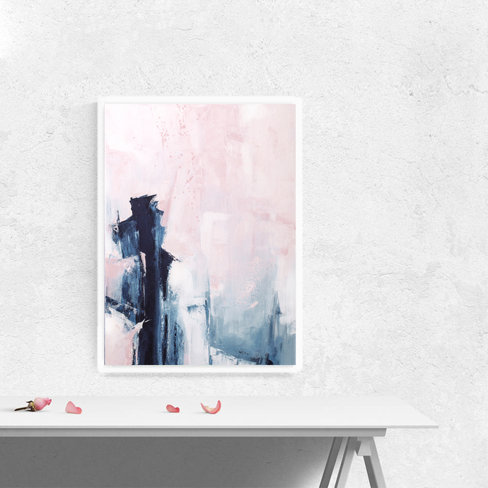 Pink And Navy Abstract Art Large Pink And Indigo By