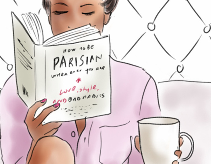 Watercolour fashion illustration clipart - Me Time 1 - Dark Skin
