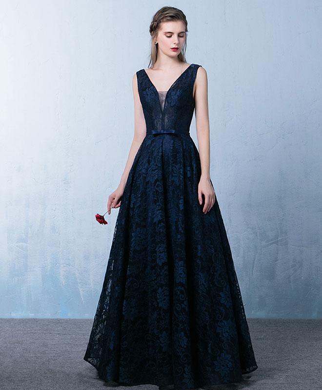 limited price strong packing promotion Elegant dark blue v neck long prom dresses,lace evening dresses