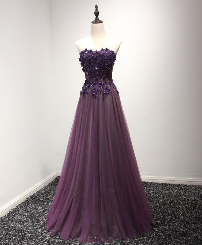 Purple sweetheart neck lace long prom dress, by prom dresses on Zibbet